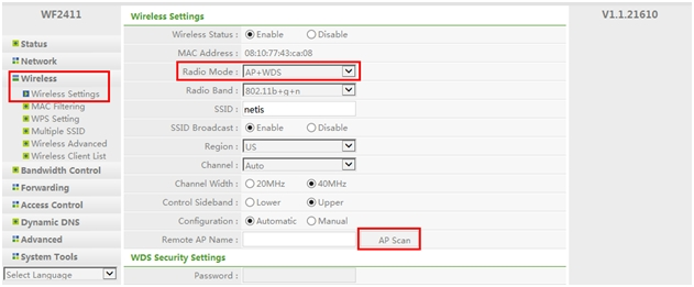 How to configure AP+WDS mode on netis wireless routers?