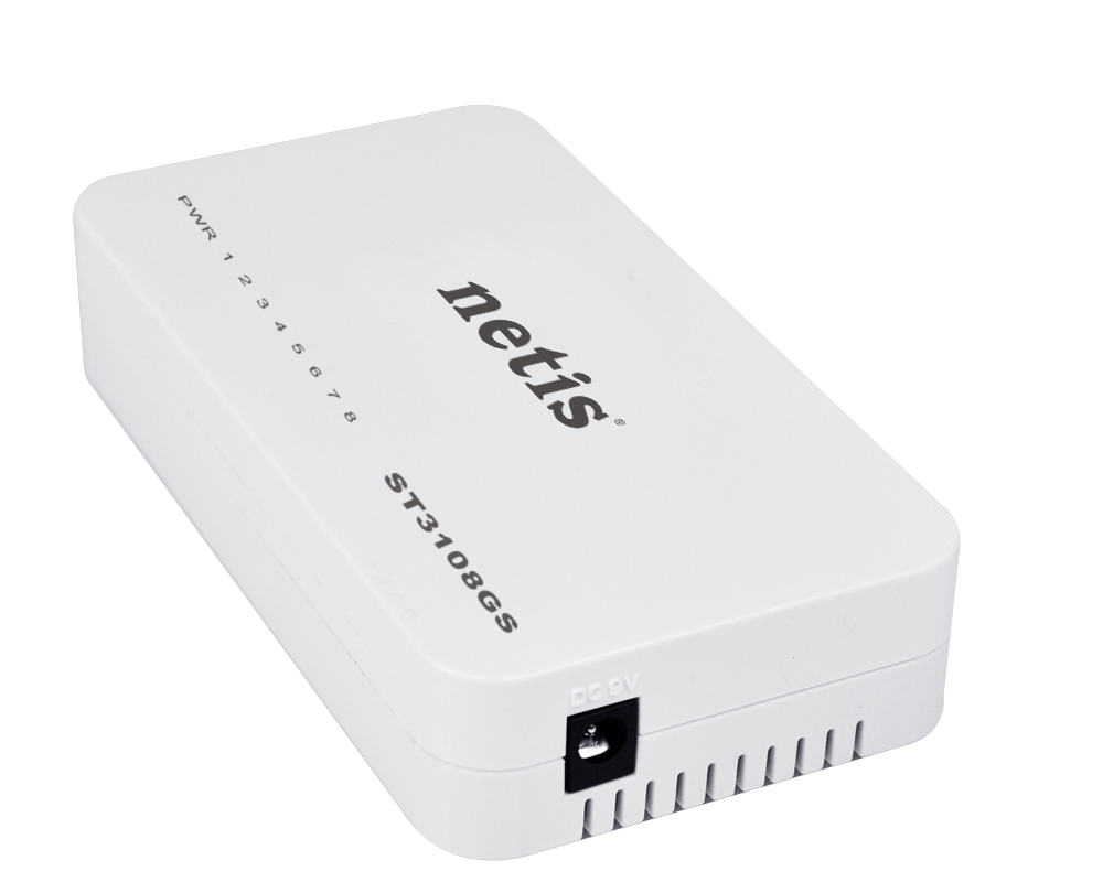 16Gbps Capacity Netis ST3108G 8-Port 10//100//1000M Gigabit Desktop Switch Auto-Negotiation and Plug and Play